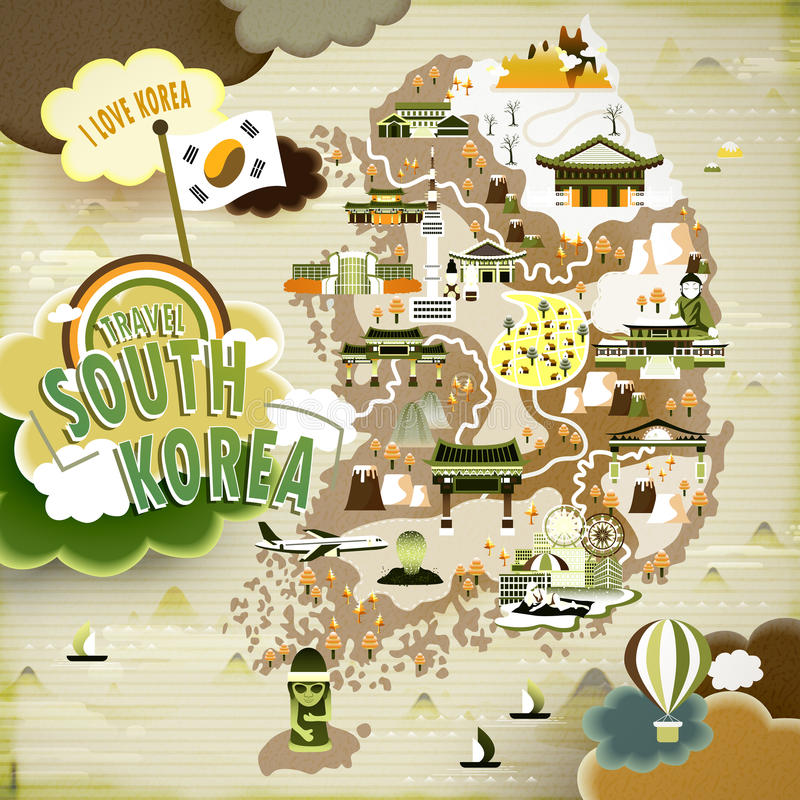 South Korea travel map. Abundant South Korea travel map in flat design royalty free illustration