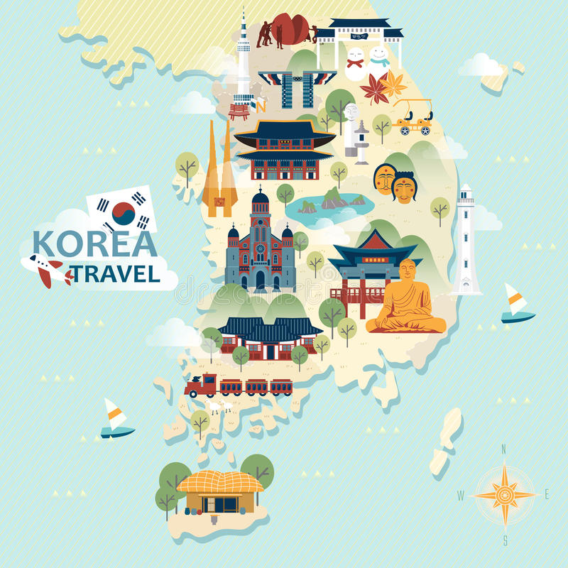 South Korea travel map. Adorable South Korea travel map with colorful attractions vector illustration