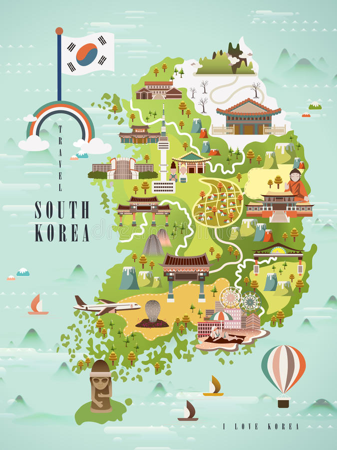 South Korea travel map. Adorable South Korea travel map design in flat style vector illustration