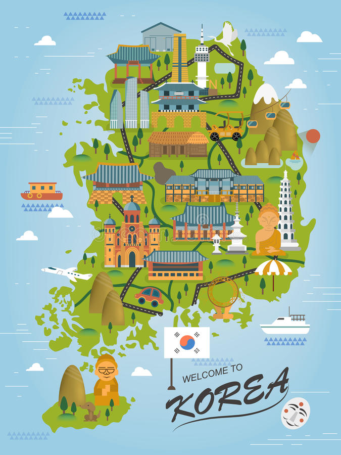 South Korea travel map. Adorable South Korea travel map in flat style vector illustration
