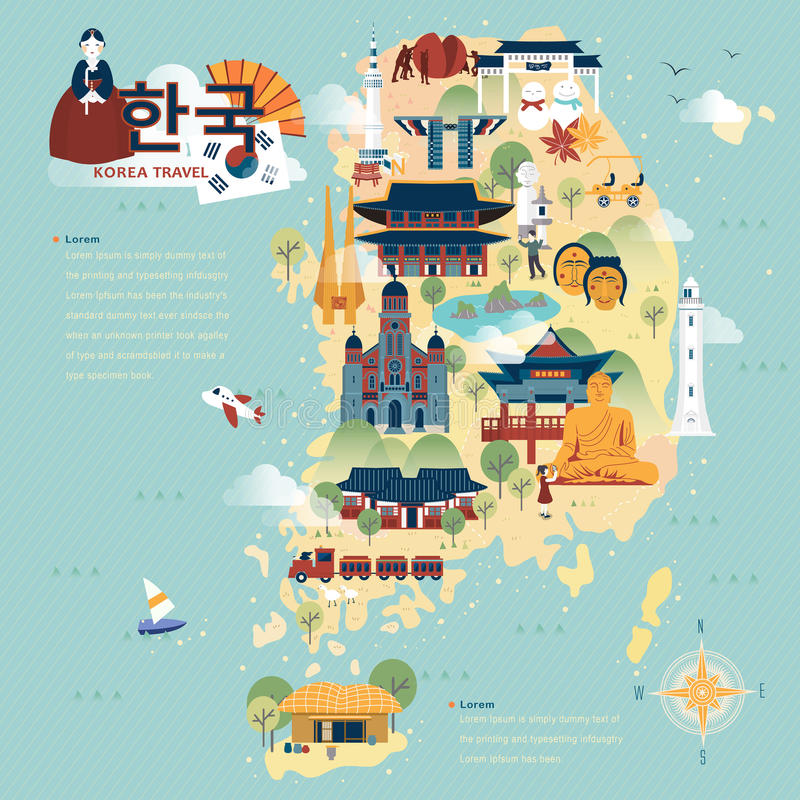 South Korea travel map. Adorable South Korea travel map in flat style - Korea in Korean words on upper left vector illustration
