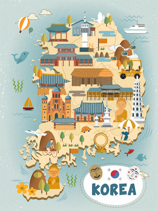 South Korea travel map. Attractive South Korea travel map in flat style stock illustration