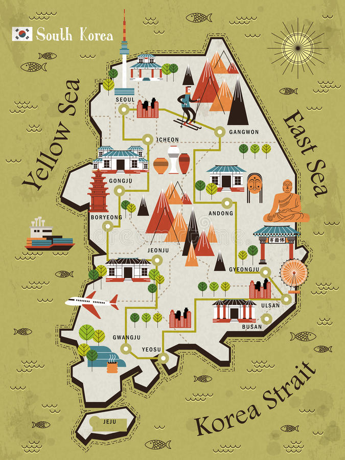 South Korea travel map. In flat design - Bulguksa word in Chinese on the temple royalty free illustration