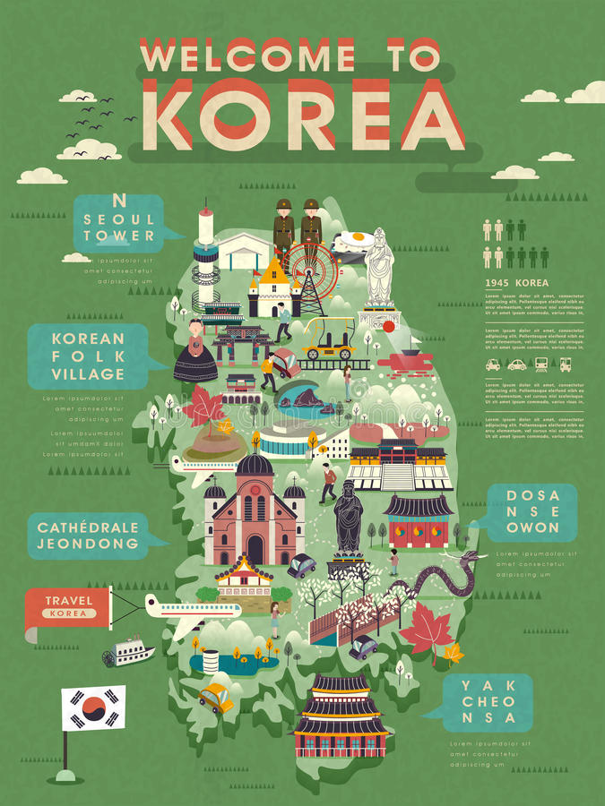 South Korea travel map. Lovely South Korea travel map with abundant attractions stock illustration