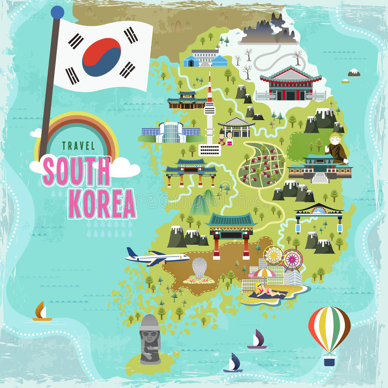 South Korea travel map. Lovely South Korea travel map in flat style royalty free illustration