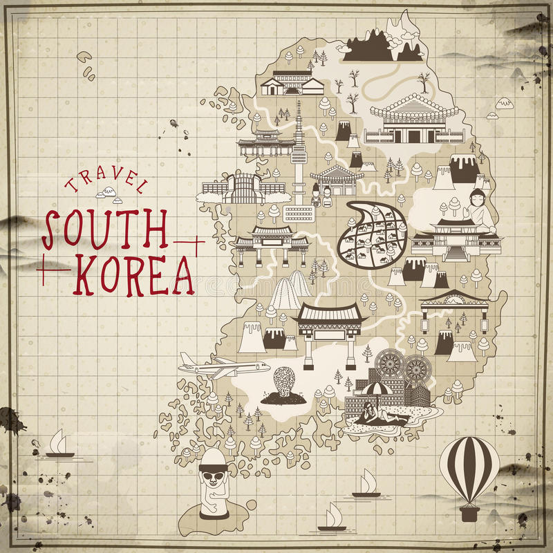 South Korea travel map. Retro South Korea travel map in flat style vector illustration