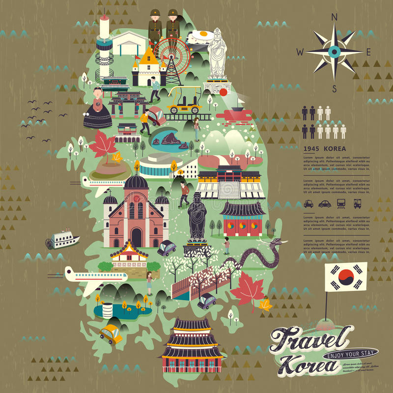 South Korea travel map. Wonderful South Korea travel map with attractions design vector illustration