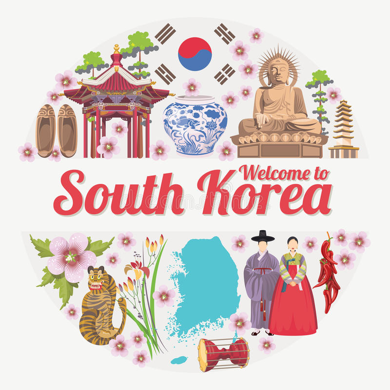 Free South Korea Travel Poster In Circle. Korea Journey Banner With Korean Objects Stock Photography - 77978702
