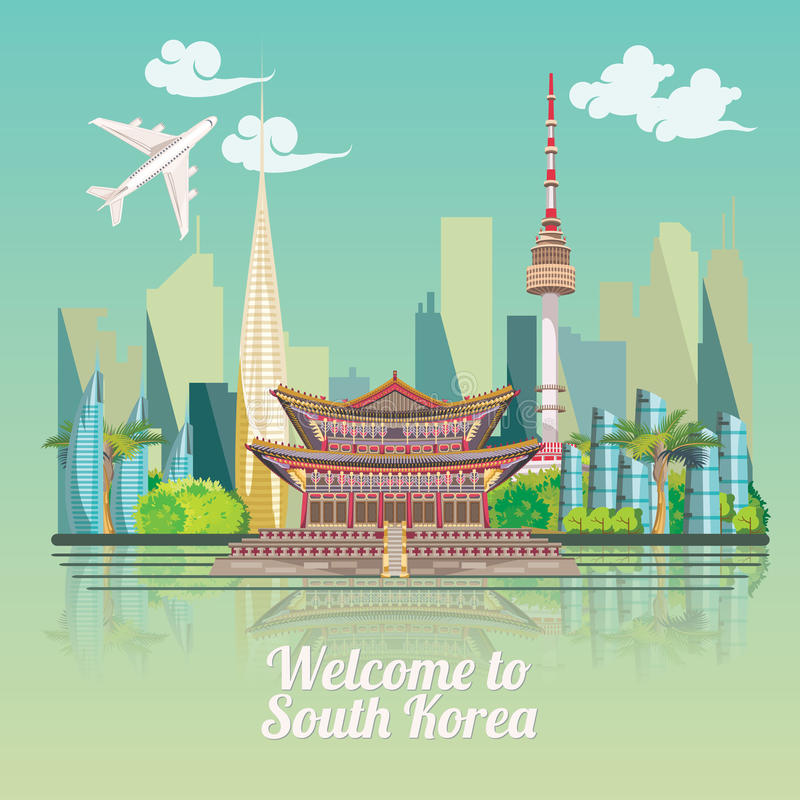 Free South Korea Travel Poster With Korean City. Korea Journey Banner With Korean Objects Royalty Free Stock Photography - 77979687