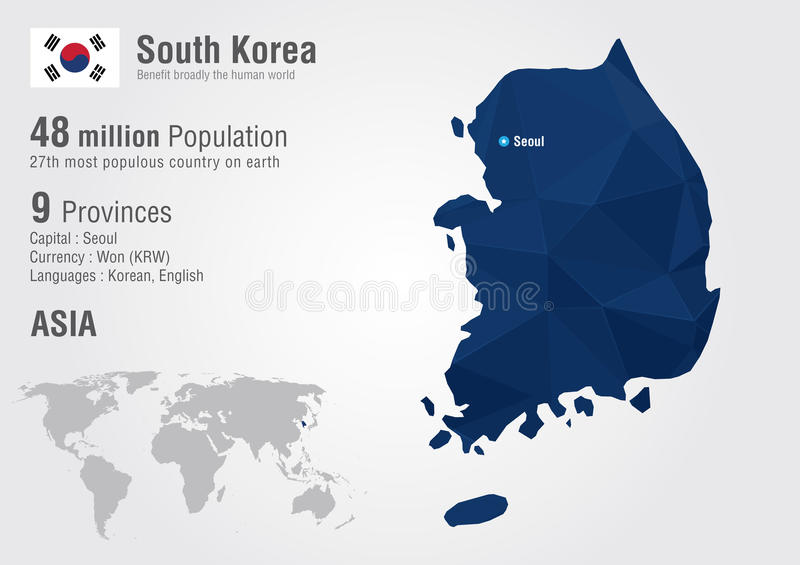 South Korea world map with a pixel diamond texture. World Geography vector illustration