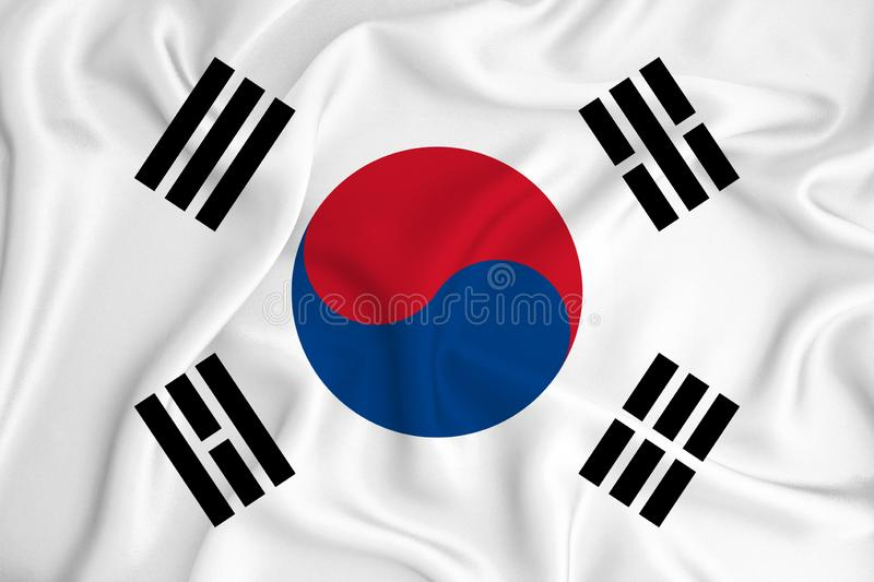 South Korean flag on the background texture. Concept for designer solutions.  stock photo