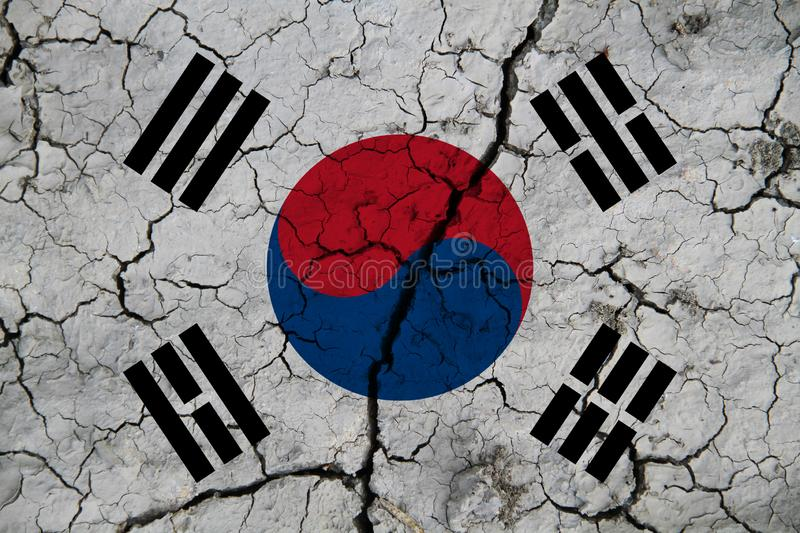 South Korean flag on the background texture. Concept for designer solutions.  royalty free stock photos