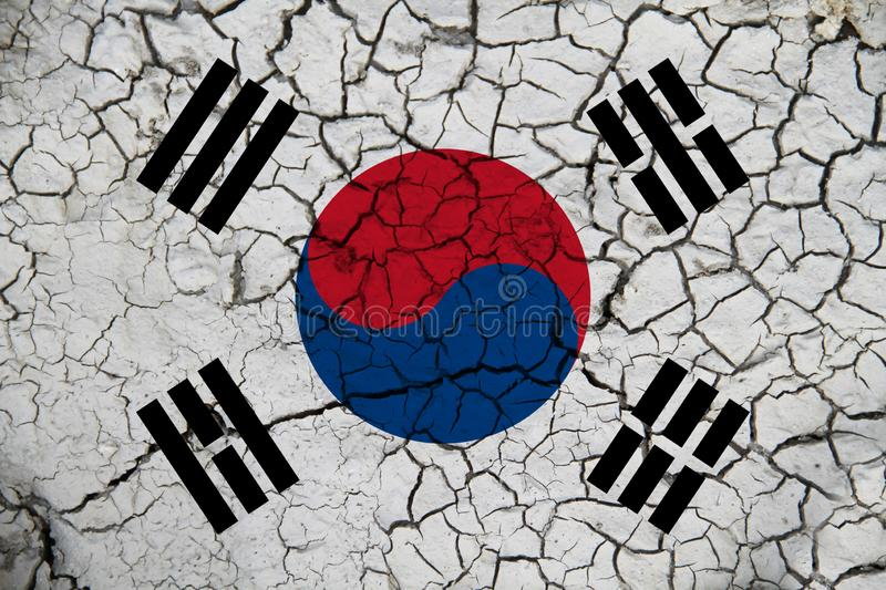 South Korean flag on the background texture. Concept for designer solutions.  stock photos