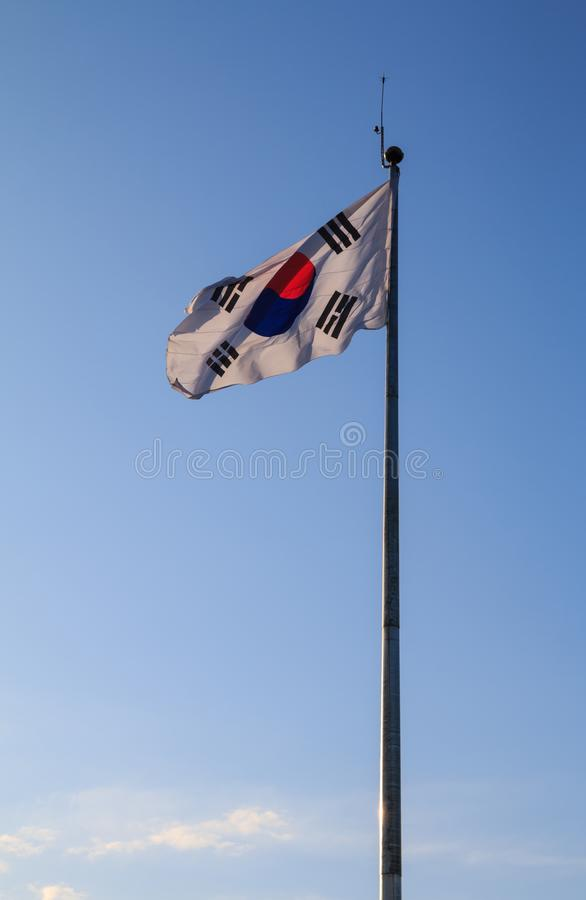South Korean Flag. Blowing in the wind royalty free stock images