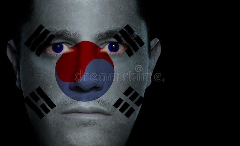 South Korean Flag - Male Face stock image