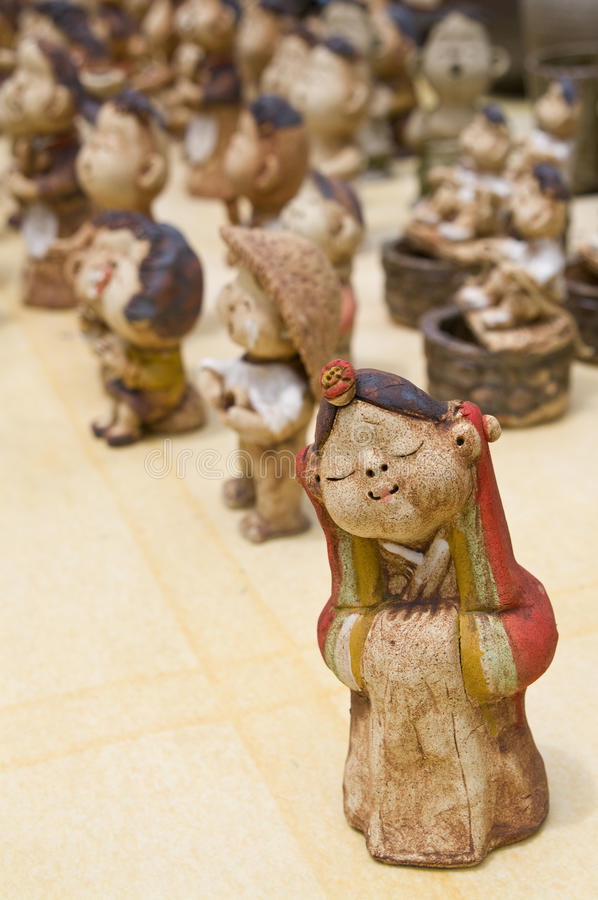 South Korean handicraft. Clay dolls made in Nagan village royalty free stock images