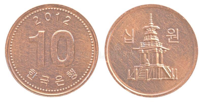10 south korean won coin. Isolated on white background stock photo