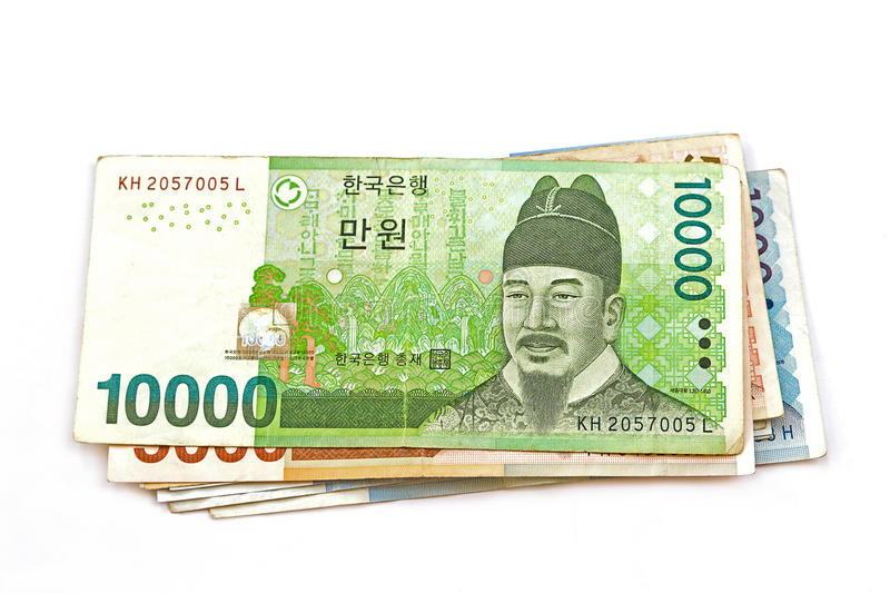 South Korean Won currency. The South Korean Won currency stock photography