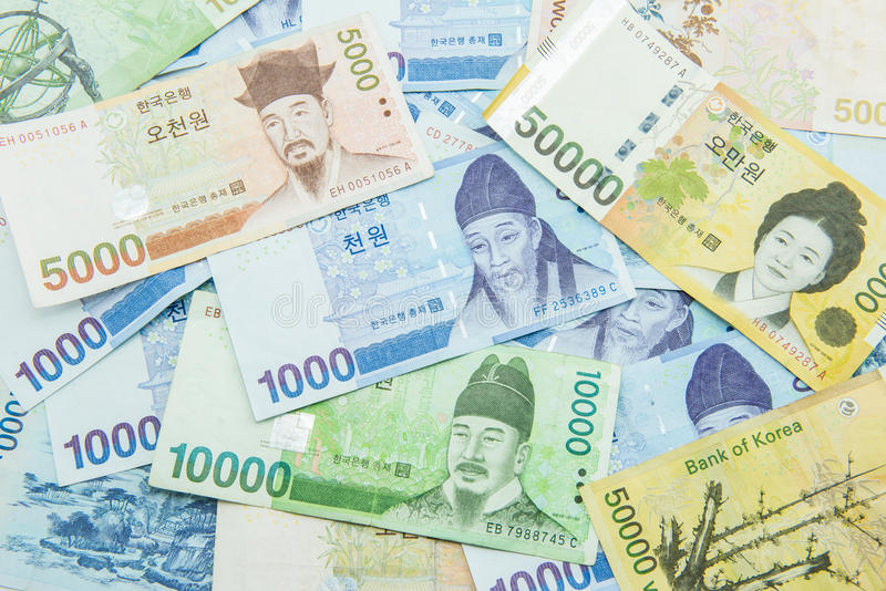 South Korean Won currency. Finance stock photography