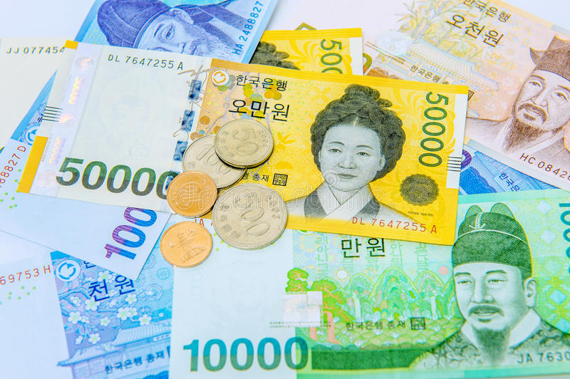 South Korean Won Currency. South Korean won currency and finance business. Business concept stock photos