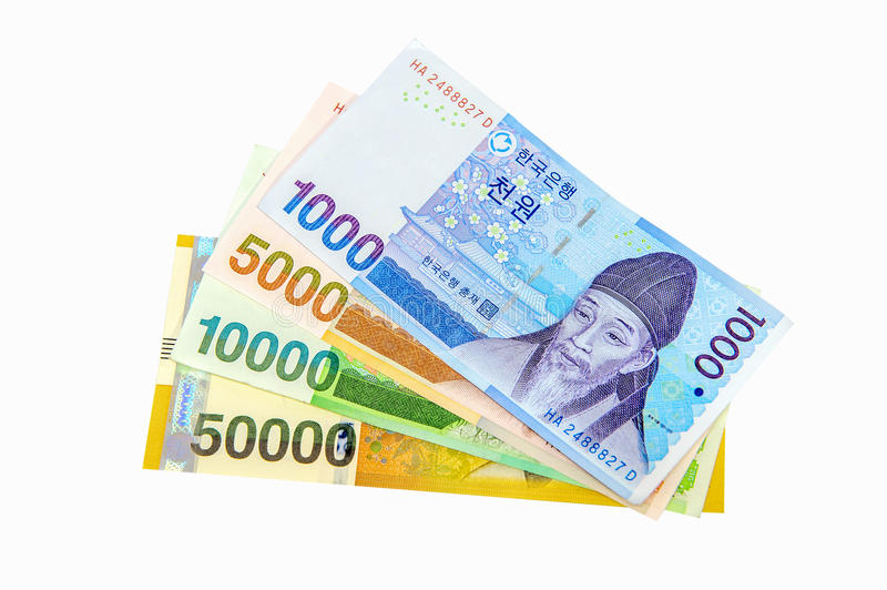 South Korean Won Currency. South Korean won currency and finance business. Business concept stock images