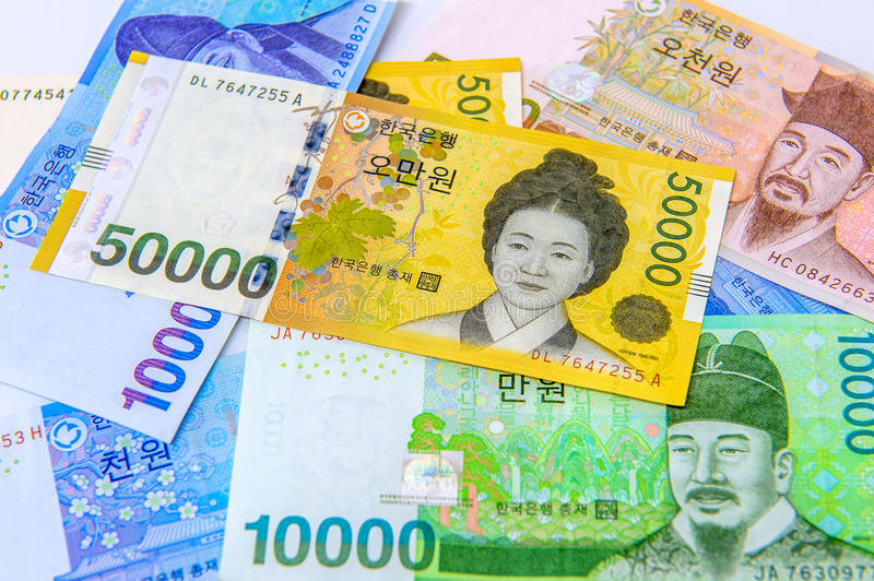 South Korean Won Currency. South Korean won currency and finance business. Business concept stock photo