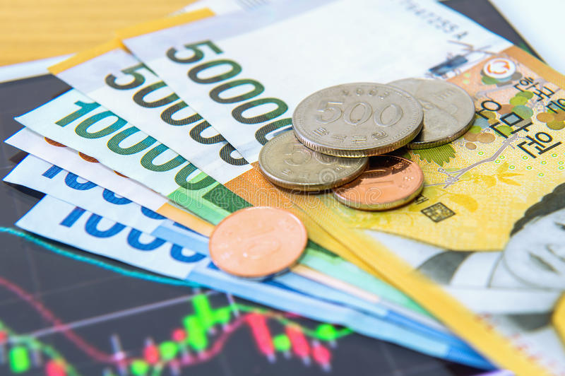 South Korean won currency and finance business. Business concept royalty free stock photos