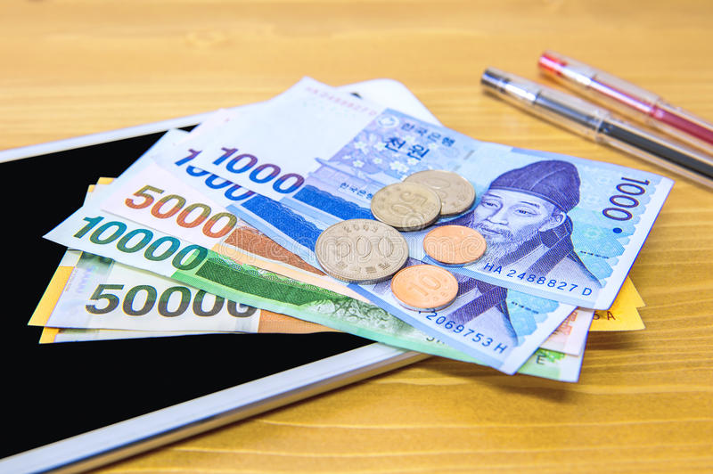South Korean won currency and finance business. Business concept stock photography