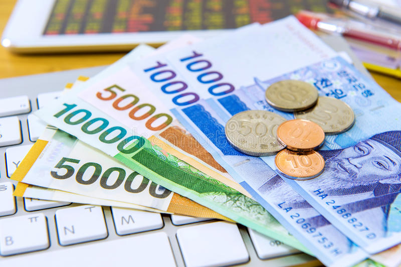 South Korean won currency and finance business. Business concept royalty free stock images