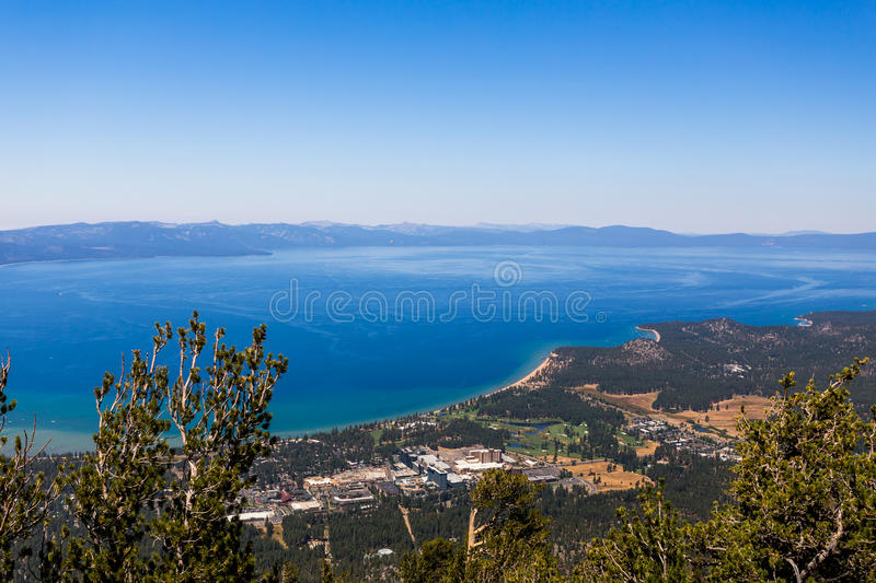 South Lake Tahoe. California and Lake Tahoe from Heavenly Gondola ride stock images