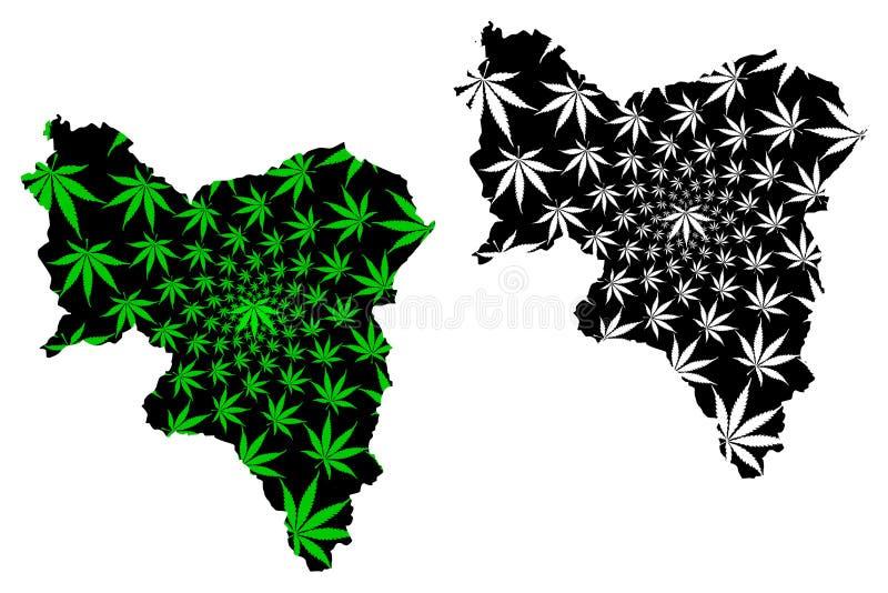 South Lanarkshire United Kingdom, Scotland, Local Government in Scotland Map è progettata cannabis leaf green and black, South So illustrazione vettoriale