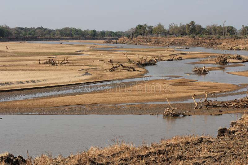 The South Luanga River landscape in Zambia. With sandbanks royalty free stock photography
