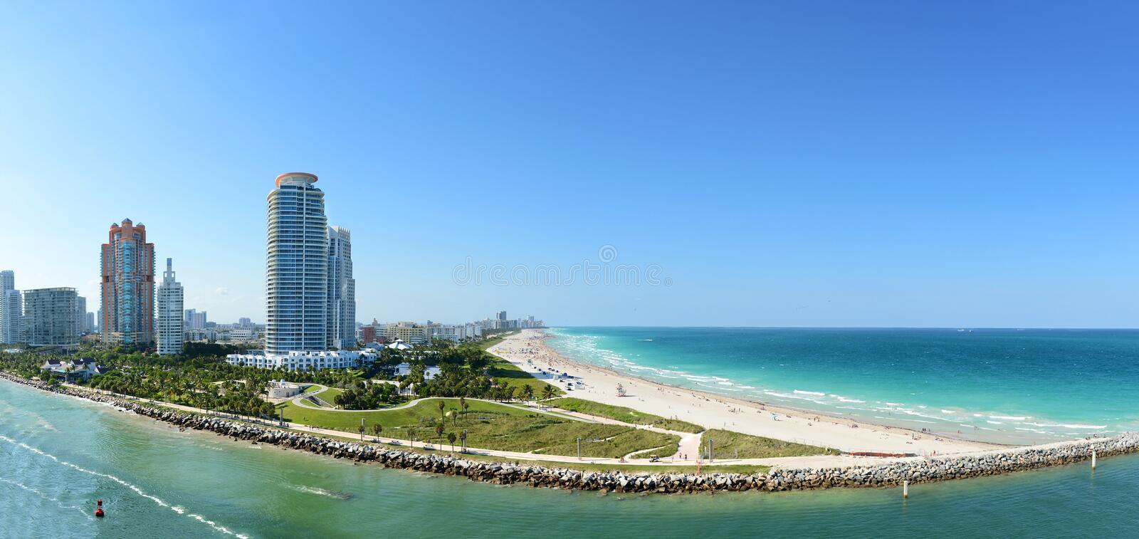 South Miami Beach. Panoramic aerial view of South Miami Beach during sunny day royalty free stock photos