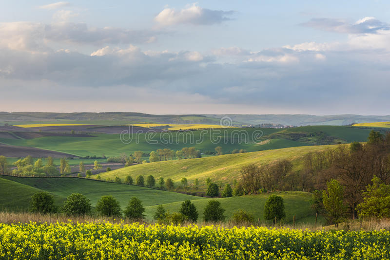 South Moravia landscape and farmland during sunset. In the spring time, Czech Republic stock photos