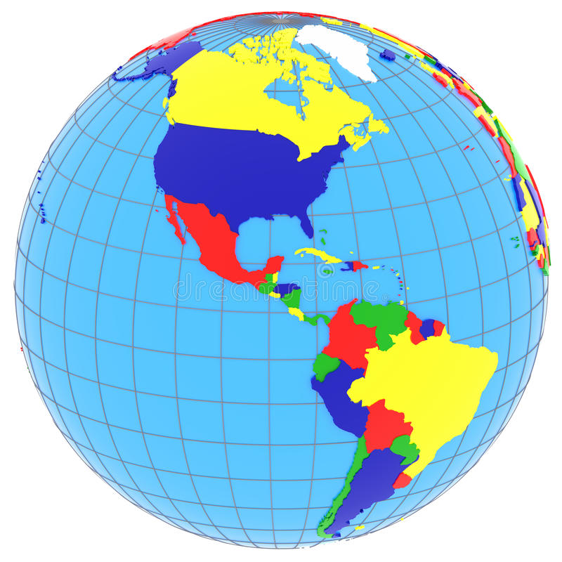 South and North America on the globe stock illustration