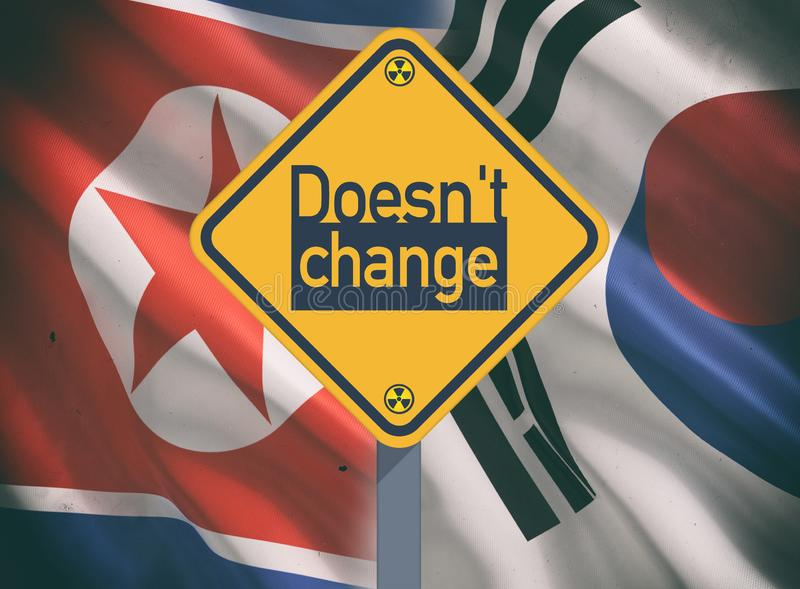 South and North Korea relations. Flags royalty free stock image