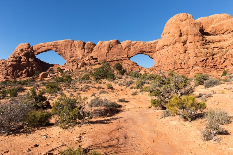 South and North Window Arch is located in Arches National Park Utah royalty free stock photos