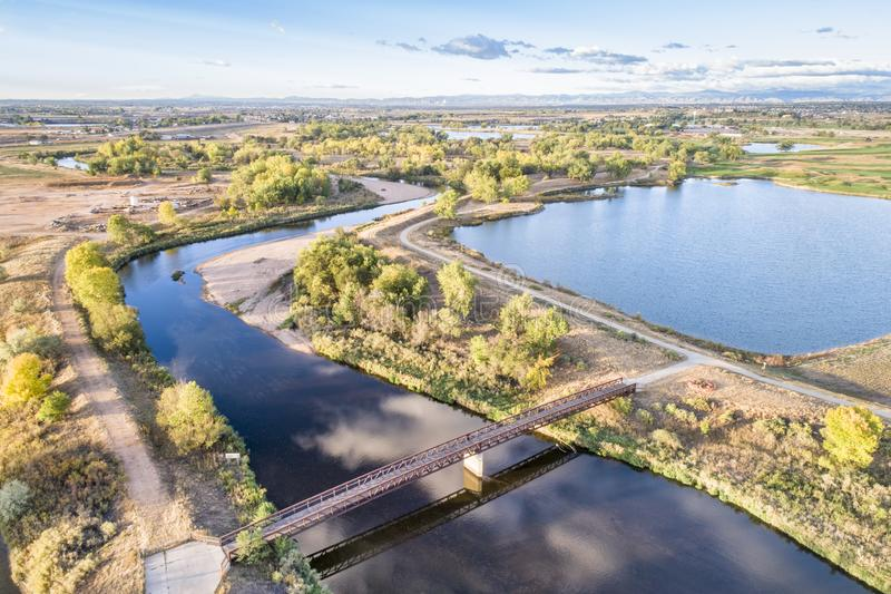 South Platte River with bike trails. Below Denver in northern Colorado, aerial view royalty free stock photo