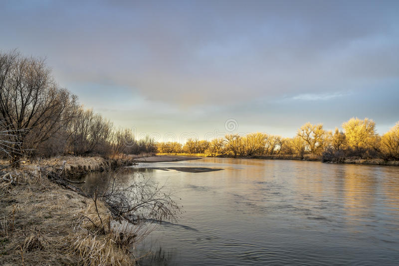 South Platte River in Colorado. South Platte River in eastern Colorado, sunset scenery in late winter or early spring stock photos