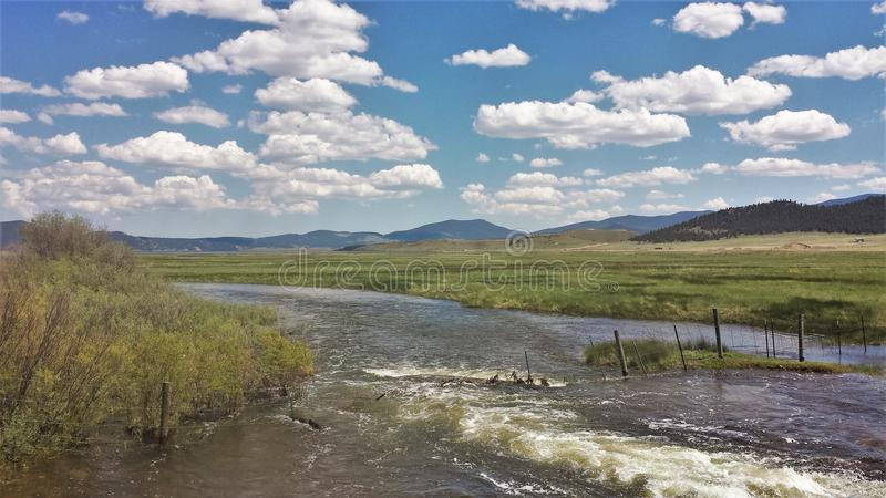 South Platte River. After unusually high rainfall amounts the South Platte River in Eleven Mile Canyon Colorado had overflowed its banks stock photos
