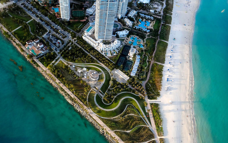 South Pointe Park of Miami Beach from sky royalty free stock photo