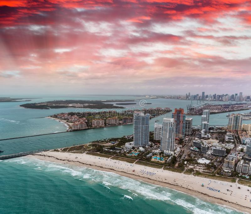 South Pointe Park and Miami skyline from helicopter royalty free stock images