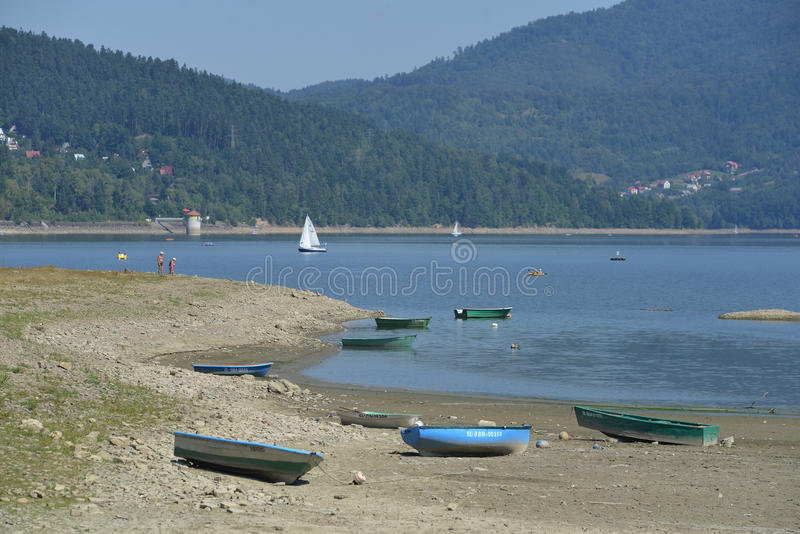 South Poland during drought (zywieckie lake) stock photography