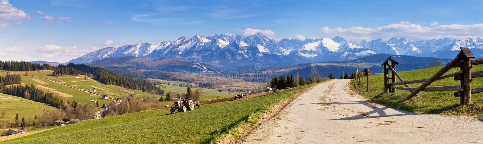 South Poland Panorama with snowy Tatra mountains in spring, stock photos
