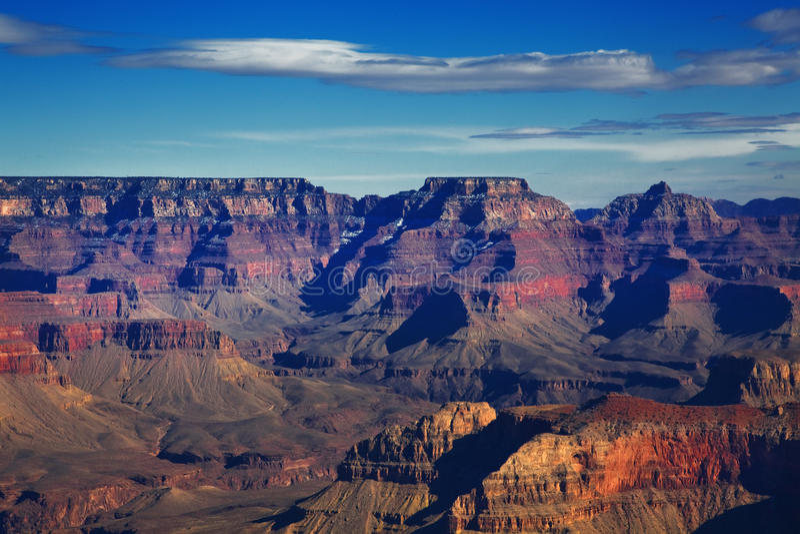 South Rim, Grand Canyon National Park, Arizona. Blue sky and strips of clouds, South Rim, Grand Canyon National Park, Arizona royalty free stock photography