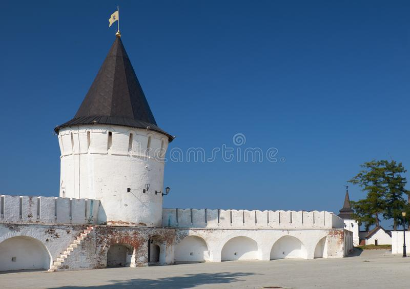 The south round tower of the Tobolsk Kremlin. Tobolsk. Russia. The view of the South Round tower with 11-sided stone tent dome at the south fortress wall of the stock image