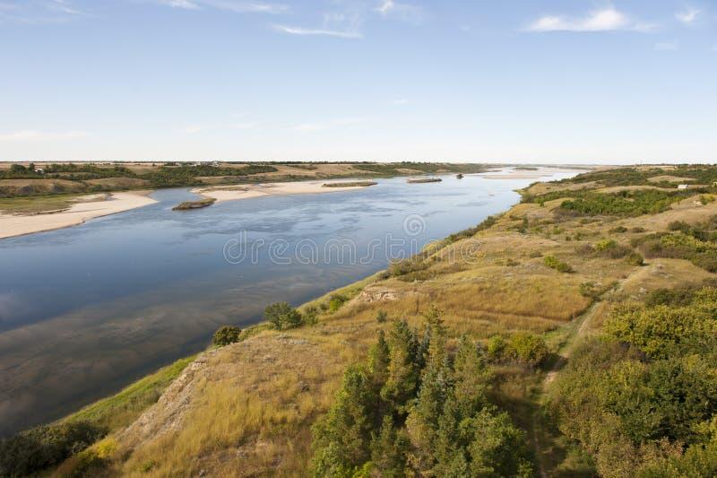 South Saskatchewan River. In Outlook, Saskatchewan Canada stock image