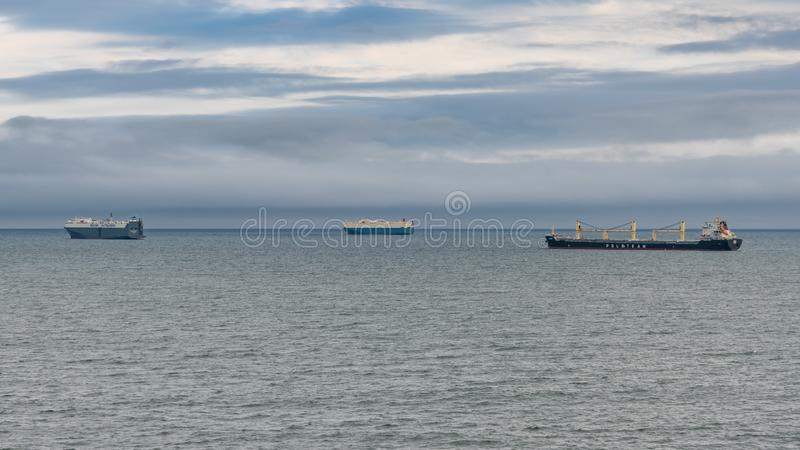 South Shields, Tyne and Wear, England, UK. September 05, 2018: View from South Shields at the North Sea with Ships parking stock image