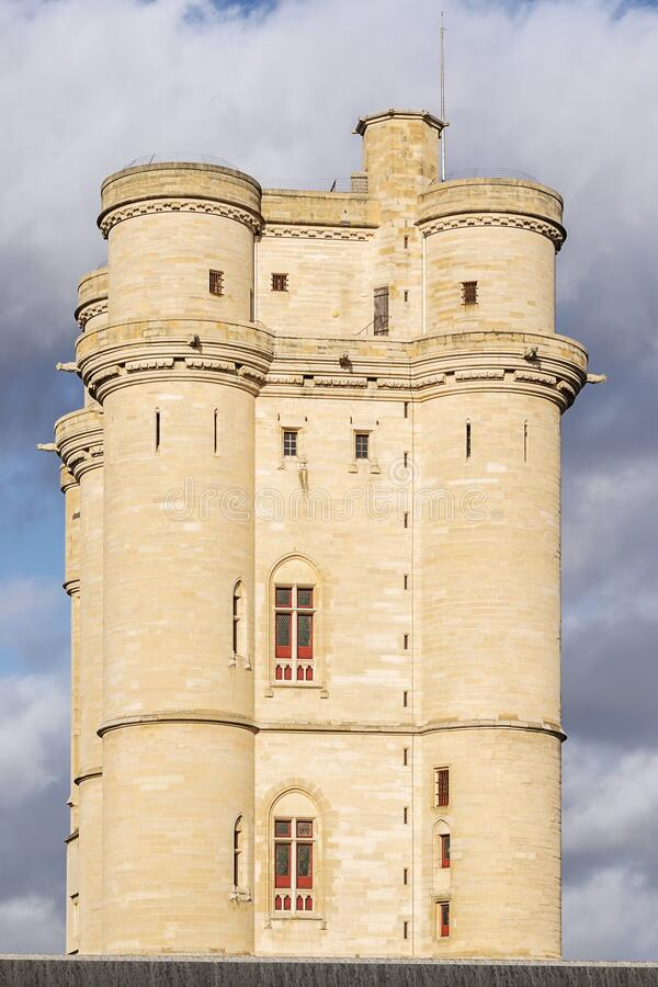 South side of the donjon of the Chateau de Vincennes in close up. Seen from the street stock photo
