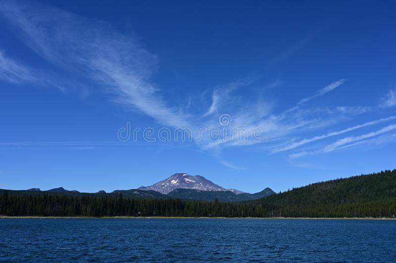South Sister from Elk Lake, Oregon. royalty free stock photo
